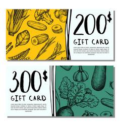 Vegan cafe gift card set vector