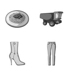 Food shoes and other monochrome icon in cartoon vector