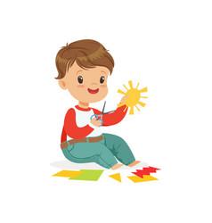 Cute boy utting an application details kids vector