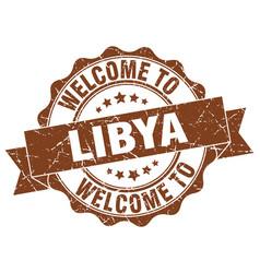 Libya round ribbon seal vector