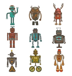 Hipster robot set vector