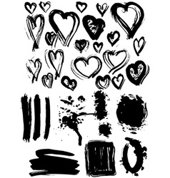 Blots splash banners and heart set grunge texture vector