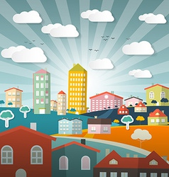 Landscape town or city in flat design retro style vector