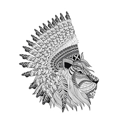 Lion face with feathered war bannet in zentangle vector