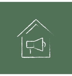 House fire alarm icon drawn in chalk vector