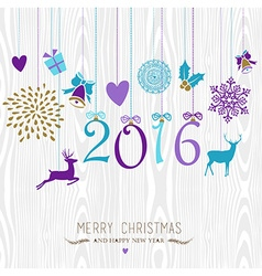 Merry christmas and happy new year hang retro 2016 vector