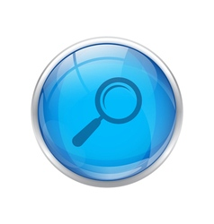 Blue magnifying glass button vector