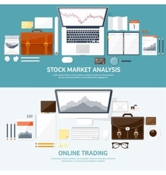 Flat background market trade vector