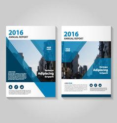 Blue annual report leaflet brochure flyer set vector