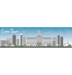Cape town skyline with grey buildings vector