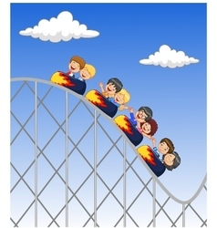 Cartoon little kid play in rollercoaster vector image vector image