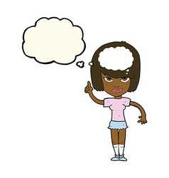 cartoon woman with idea with thought bubble vector image