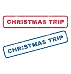 Christmas Trip Rubber Stamps vector image