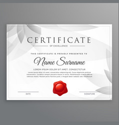 clean certificate of excellence template design vector image vector image