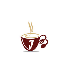 Coffee cup restaurant letter j vector