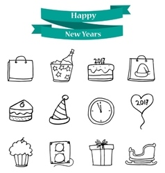 Collection new year element icons vector