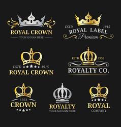 crown logos set luxury corona monograms vector image vector image