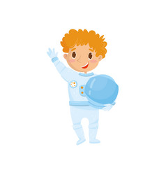 cute red-haired teen boy wants to be cosmonaut in vector image