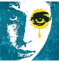 Grunge style digital pop art portrait young female vector