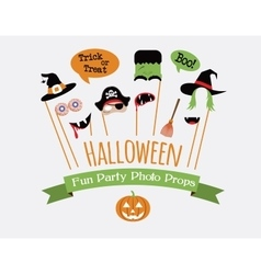 Halloween party invitation with photo booth props vector