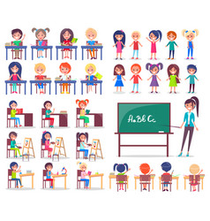 Isolated students sitting at desks and teacher vector