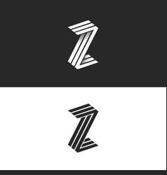 Letter z logo isometric geometric shape 3d vector