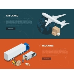 Logistic concept flat banners of air cargo vector