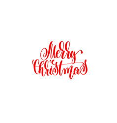 merry christmas red hand lettering winter holidays vector image vector image