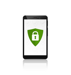 Mobile phone security shield protection closed vector
