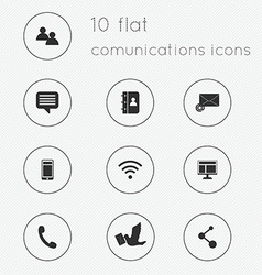 Modern flat icons collection of communications vector image