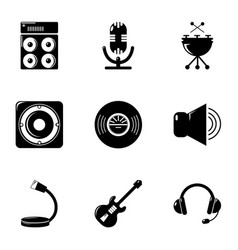 Music equalizer icons set simple style vector