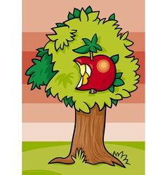 Nibbled apple on tree cartoon vector