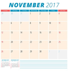 November 2017 Calendar Planner for 2017 Year Week vector image vector image