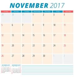 November 2017 Calendar Planner for 2017 Year Week vector image