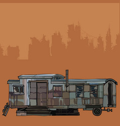 old iron house trailer vector image