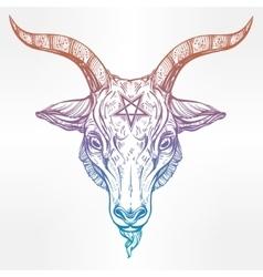 Pentagram with demon Baphomet Satanic goat head vector image