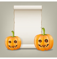 Pumpkin and scrolled paper vector image