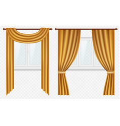 Realistic windows with curtains and drapes vector