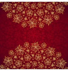 Red vintage doodle flowers background vector image vector image