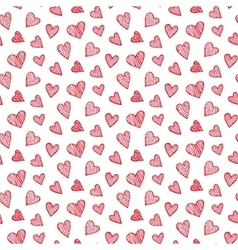 romantic seamless pattern with red hearts vector image