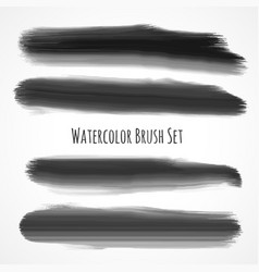 Set of black watercolor brushes vector