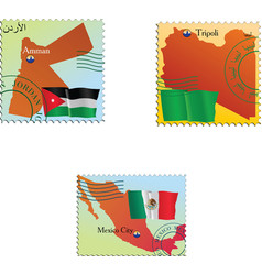 stamp with an image of map vector image vector image
