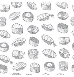 Sushi set pattern asian food japanese cooking vector