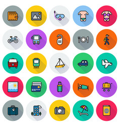Traveling and transport icon set vector