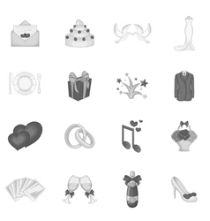 Wedding icons set cartoon style vector image vector image