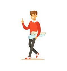 Young smiling male student walking with paper vector