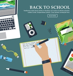 Desk schoolboy with exercise books and stationery vector