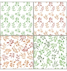 Seamless pattern set with orange and green twigs vector