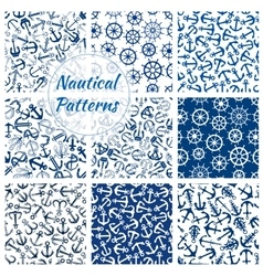 Nautical helm and anchor seamless pattern set vector