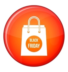 Black friday shopping bag icon flat style vector